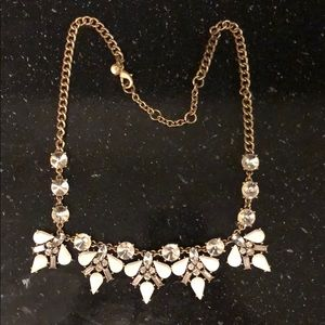 JCrew white and crystal necklace